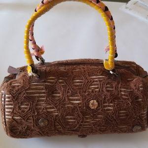 Malo Brown Embroidered Satchel Handbag